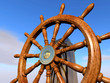 steering wheel on blue sky