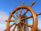 steering wheel on blue sky