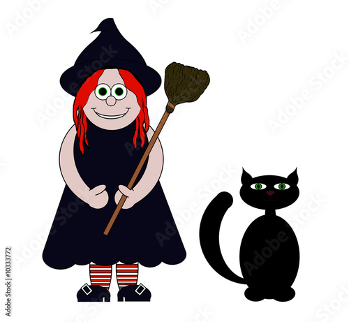 black and white cat cartoon. Witch amp; Black Cat Cartoon