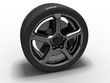 3d rendered car tire and rim.