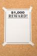 Reward poster close up shot