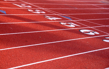 Track Field starting line all lanes
