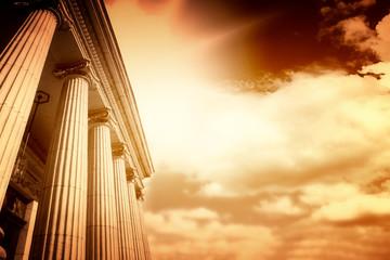 Picture of large greek freestone columns .