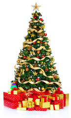 Christmas Tree  and Gifts. Over white background.