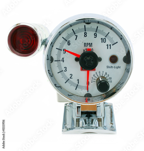 Tachometer with indicator isolated on a white background