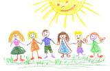 Fototapety children on the green grass