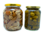 preserved food: fungi and cucumber poster