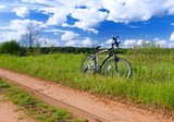 Bicycle by side of track in summer rural scene poster