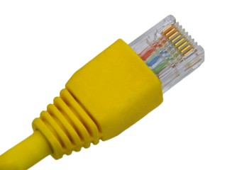 Yellow utp cat5 network cable isolated on white background