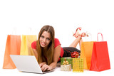 Beautiful shopping girl shopping over internet. poster