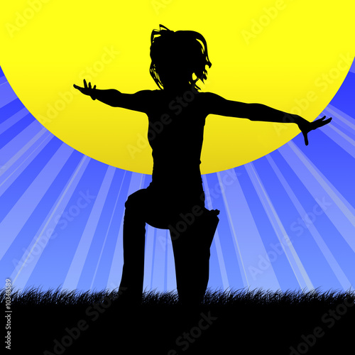 Female silhouette kneeling