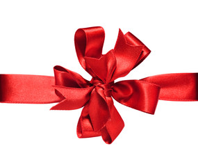 Gift red ribbon and bow isolated on white with clipping path