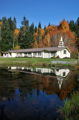Small rural church with autumn color