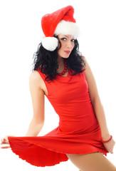sexy brunette woman wearing Santa's hat