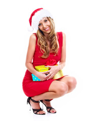Santa girl hold bestowal, isolated on white