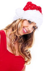 Portrait of happy santa girl,isolated on white
