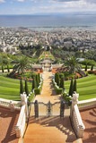 Grandiose magnificent landscape - Bahai gardens, Haifa and  sea poster