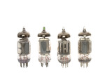 Old vacuum tubes on white background poster