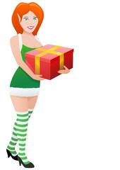 Elfe en robe verte portant un cadeau (détouré)
