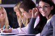 group of young people in business school, selective focus