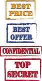 Various Stamps. Best price, best offer, confidential, top secret poster
