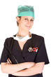 Caucasian female healthcare professional in scrubs
