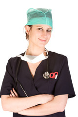 Caucasian female healthcare professional in scrubs