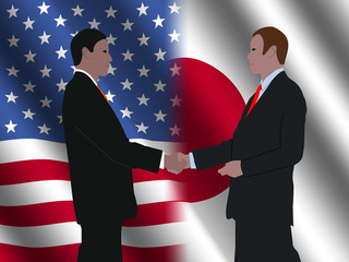 business handshake over American and Japanese flags