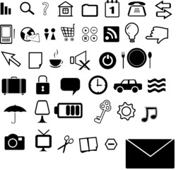 set of 40 black&white icons