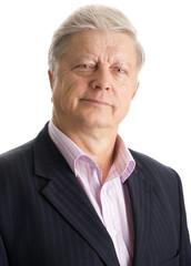 portrait  mature businessman on white background