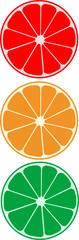 Abstract vector citrus as traffic light