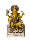 Bronze statue of Ganesh, Hindu god,  painted in gold and silver. poster