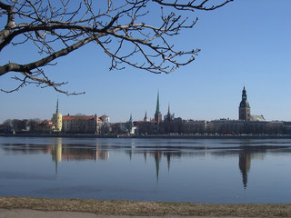View of Riga's skyline from Daugava river