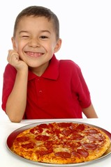 Boy and pizza 6 years old