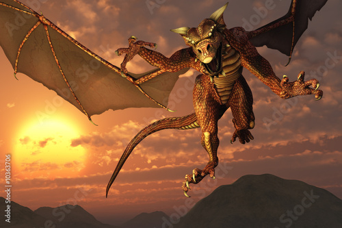 Tuinposter Draken 3D render of a dragon flying at sunset.