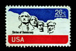 Shrine of democracy on USA stamp featuring mount rushmore