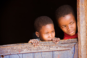 Portrait of poor African children,  Botswana