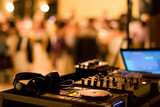 dj club dance party background with sound mixer console poster