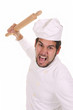 Mad chef with rolling pin on white background