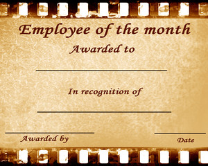 employee of the month: certificate with stains