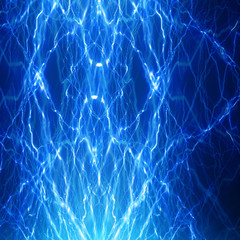 electrical spark on a soft blue background