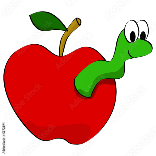 Zoom Not Available: Vector images scale to any size. Apple worm