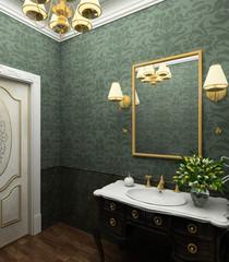 Classical design interior of bathroom. 3D render