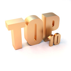 """isolated 3d golden text """"TOP 10"""""""