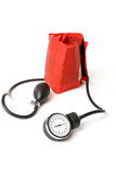 A sphygmomanometer  known as a bp cuff.  Focus to dial poster