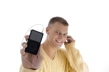 handsome man showing ipod with white background