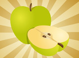 Apple illustration whole and half cross-section isometric view poster