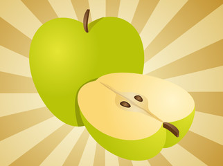 Apple illustration whole and half cross-section isometric view