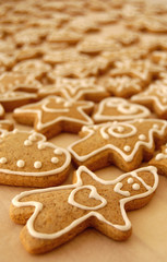 Christmas gingerbreads with white sugarcoat.