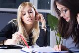 young businesswomen in training school poster